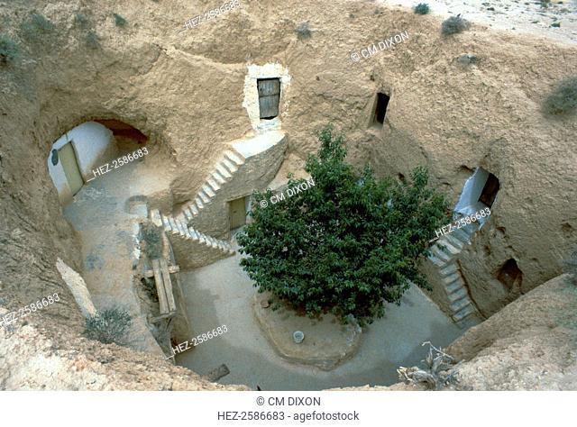 Pit-dwelling in Matmata in Tunisia