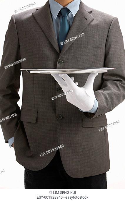 sale person holding a tray