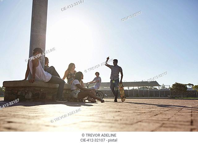 Teenage friends hanging out at sunny skate park