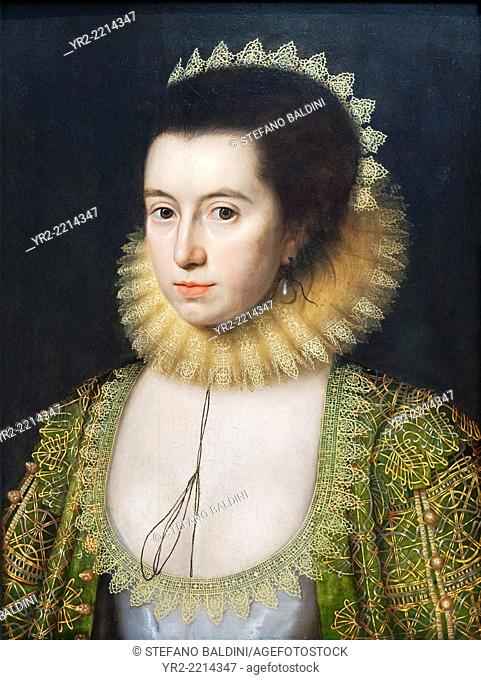 Anne, Countess of Pembroke (Lady Anne Clifford) by William Larkin, oil on panel, circa 1618, , national portrait gallery, London, England