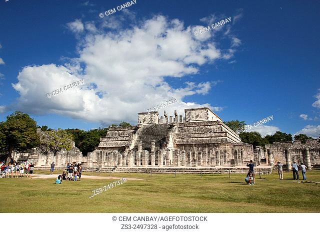 Tourists in front of The Temple of the Warriors at Chichen Itza Ruins, Chichen Itza, Yucatan Province, Mexico, Central America