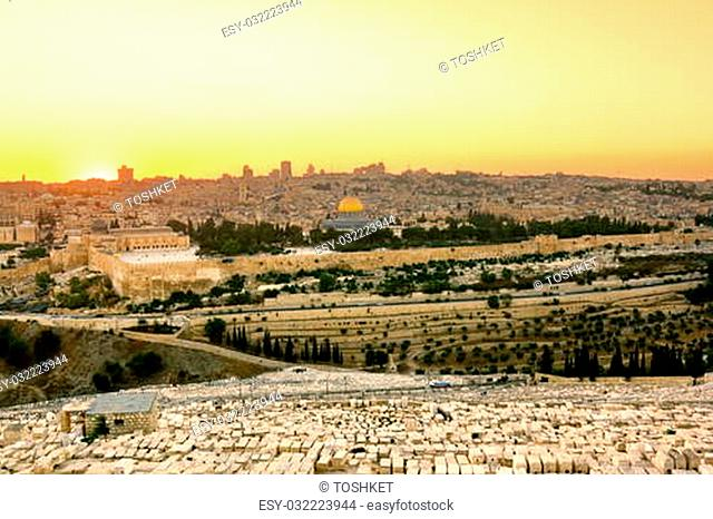 Mosque of Caliph Omar (dome of the rock ) in Jerusalem at sunset. View from the mount of Olives