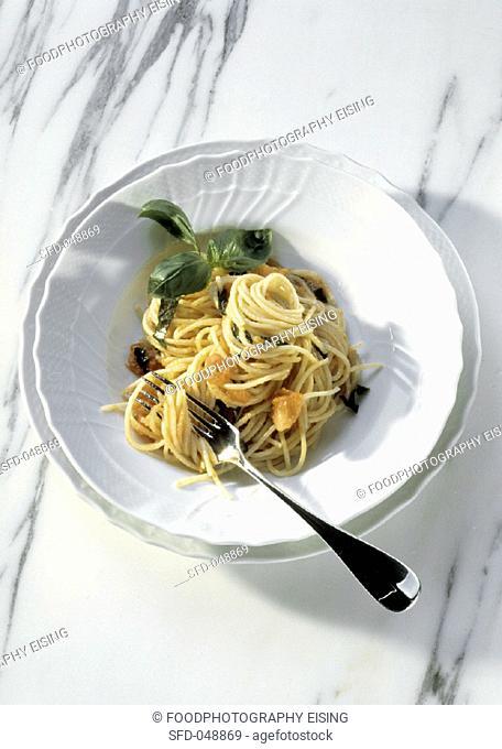 Bowl of Spaghetti with Tomato Sauce, Basil