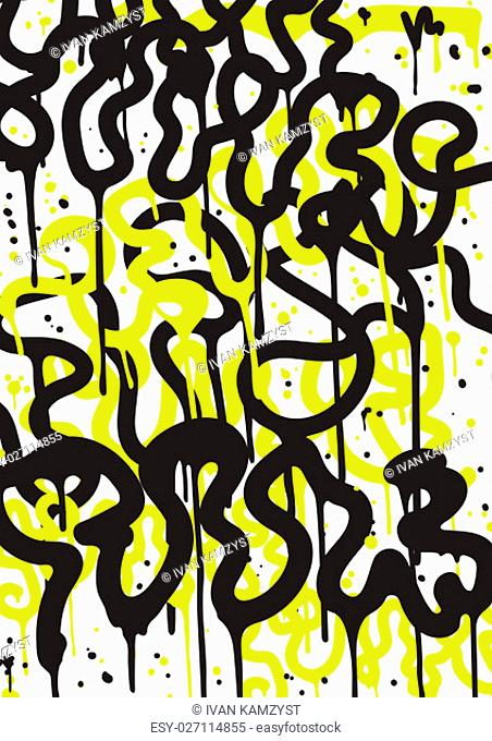 Vector fashion graffiti font. modern hand drawing retro style font texture, design elements in white, black, yellow. Used clipping mask for easy editing