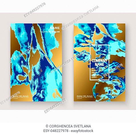 Navy blue marble luxurious texture paint artistic, wedding invitation design. Decorative splash fluid on golden background, vector Illustration