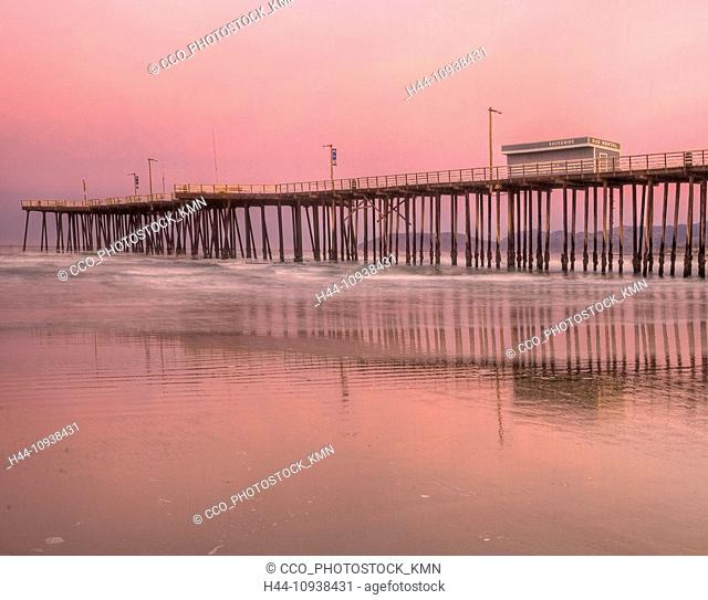 USA, United States, America, California, Pismo Beach, Pismo Pier, pier, coast, sunset, sunrise, twilight, waves, ocean, Pacific Ocean, Pismo