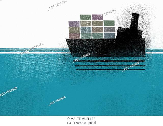 Illustration of cargo ship moving on sea