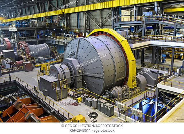 Ball mill for grinding larger rocks of copper ore, Erdenet Mining Corporation EMC, Erdenet Copper Mine, Erdenet, Mongolia