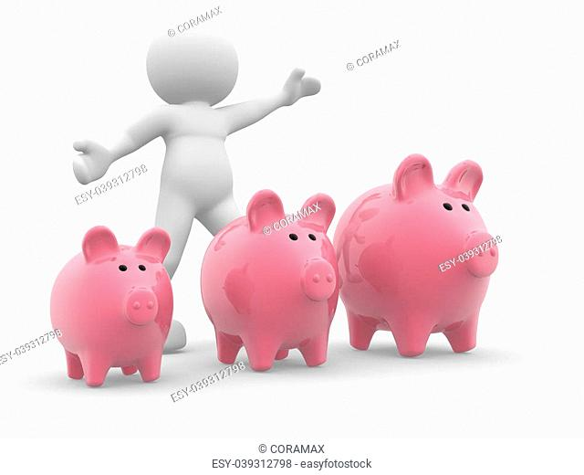 3d people- human character - and three piggy bank. 3d render illustration