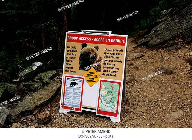 Wild bear warning sign, Moraine Lake, Banff National Park, Alberta Canada