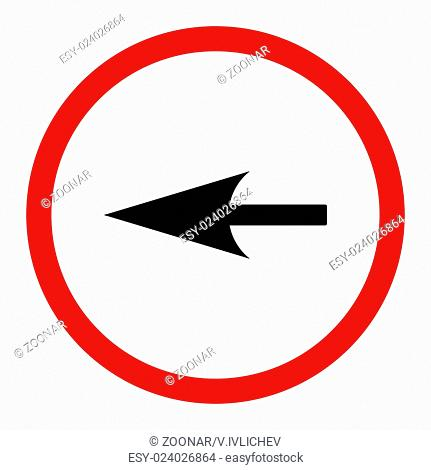 Sharp Left Arrow flat intensive red and black colors rounded raster icon