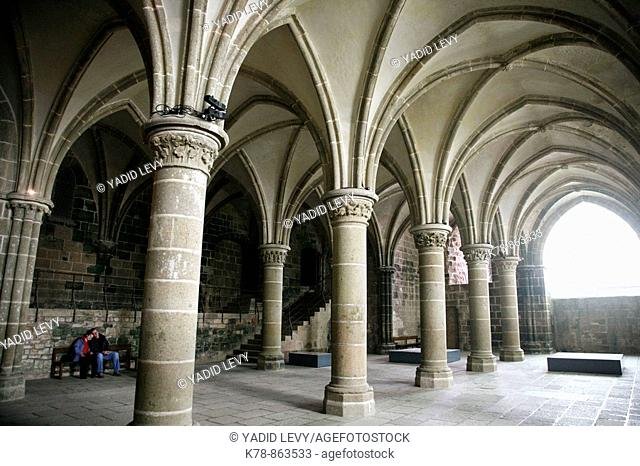 The abbey in Mont St  Michel, Normandy, France
