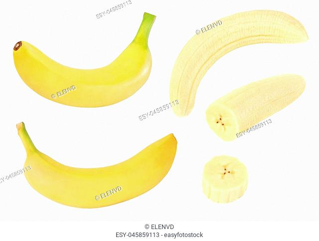 Collection of whole and sliced yellow banana fruits isolated on white background with clipping path