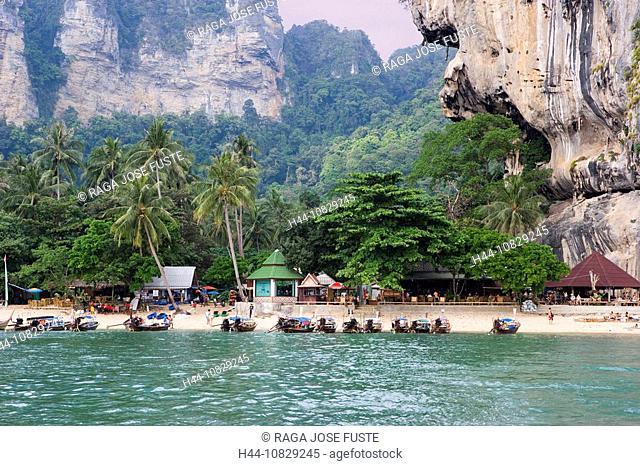 Thailand, Asia, Krabi province, Ao Nang, Having tone, clay, Sai Beach, beach, seashore, sandy beach, boats, coast, sea