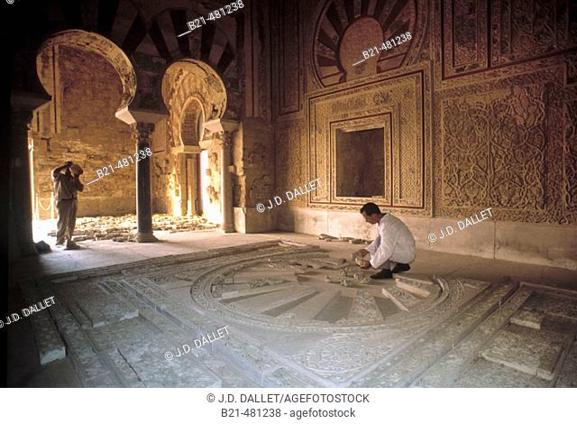 Restauration of Abd-al Rahman III Hall at the moorish ruins of Medina Azahara. Cordoba. Spain