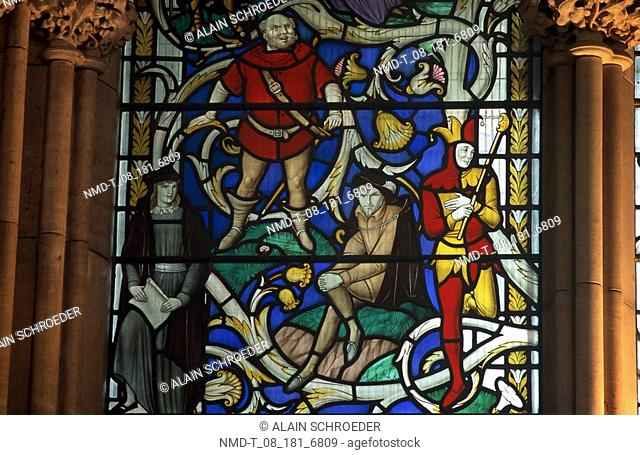 Close-up of a painting on stained glass, Southwark Cathedral, Southwark, London, England