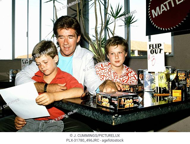 Alan Thicke with sons and Robin and Brennan, circa 1987