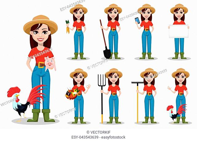 Female farmer cartoon character. Cheerful gardener woman rancher, set of nine poses. Vector illustration on white background