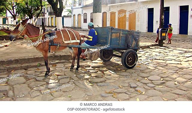 a man witha horse and a cart at paraty city