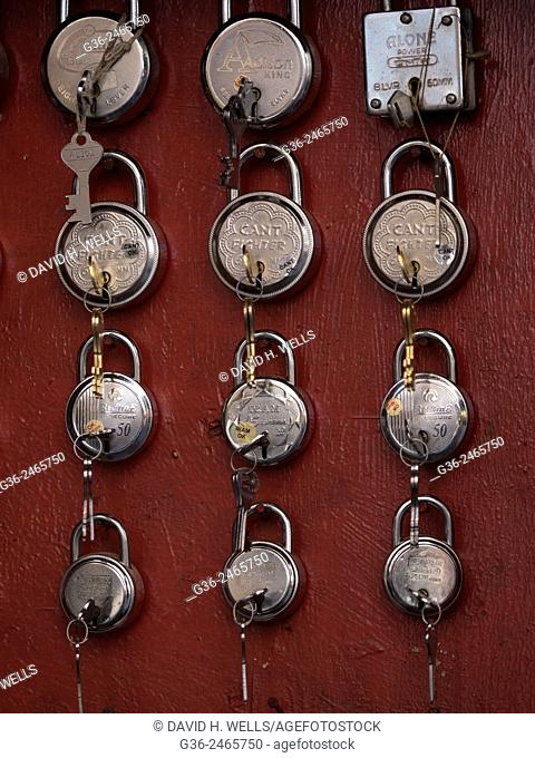 Collection of locks at shop in Udaipur, Rajasthan, India
