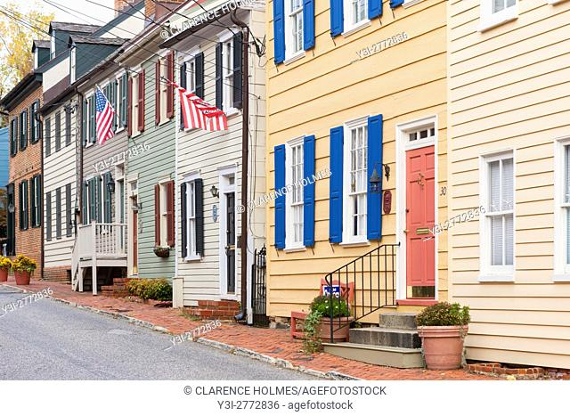 Historic homes in the Colonial Annapolis Historic District near downtown Annapolis, Maryland