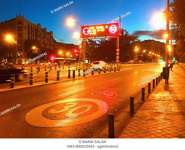 O'Donnell street, night view. Madrid, Spain