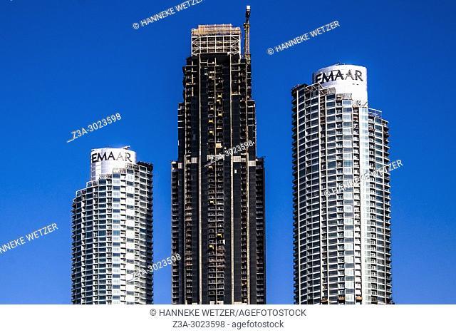 Construction site of the Emaar Properties supertall skyscrapers in Dubai