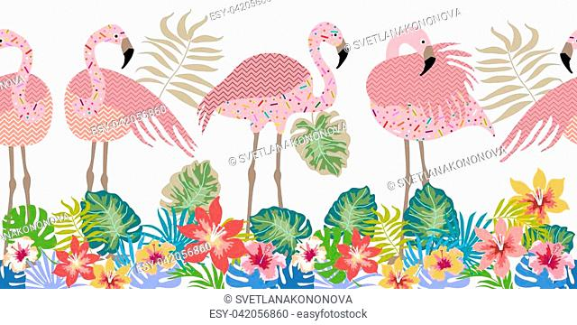 Tropical collection. Exotic birds and floral background