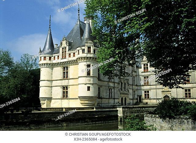 Chateau d'Azay-le-Rideau, Indre-et-Loire department, Centre region, France, Europe