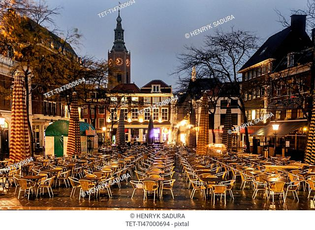 Town square with cafe tables
