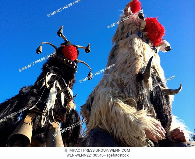 Bulgarian Kukeri dancers wear masks during the 24th 'Surva' International Festival of Masquerade Games in the town of Pernik, West of the Capital Sofia
