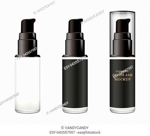 Realistic white glass jar with plastic lid for cosmetics - body cream, butter, scrub, foundation cream, gel, skin care, powder. Premium product