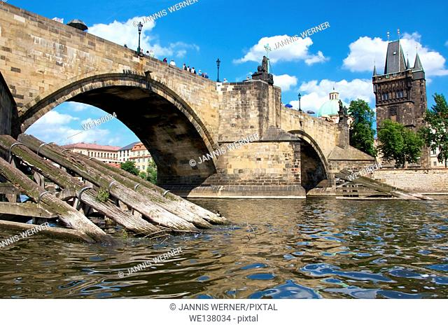 Landmark Charles Bridge in Prague, Czech Republic, seen from the water