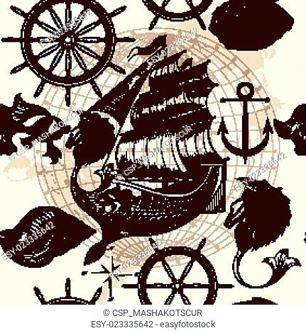 Antique pattern with ship, shells and map, tripping theme.eps