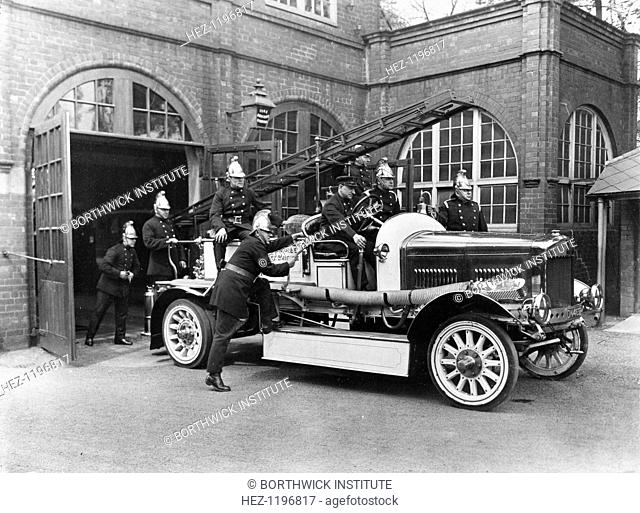 Rowntree works fire brigade with their engine, Rowntree factory, York, Yorkshire, 1933