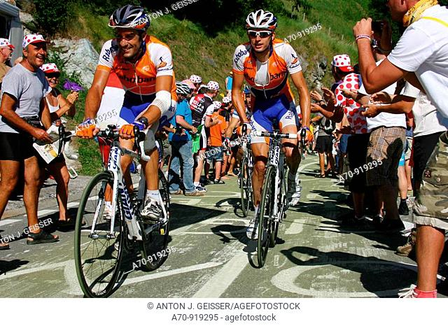 Juan Antonio Flecha (ESP) and Stef Clement (NED) road bicycle racers for Rabobank team, Tour de France, 15 stage Pontarlier-Verbier (July 19th 2009)