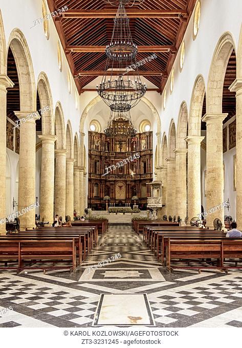 Metropolitan Cathedral Basilica of Saint Catherine of Alexandria, interior, Cartagena, Bolivar Department, Colombia