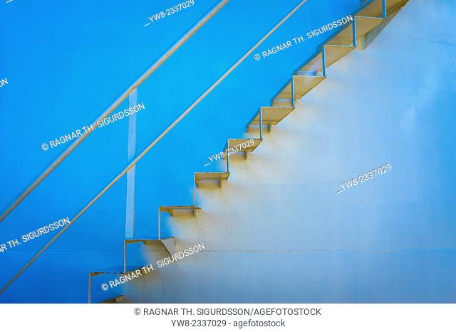 Close-up of stairs on oil tank, Iceland