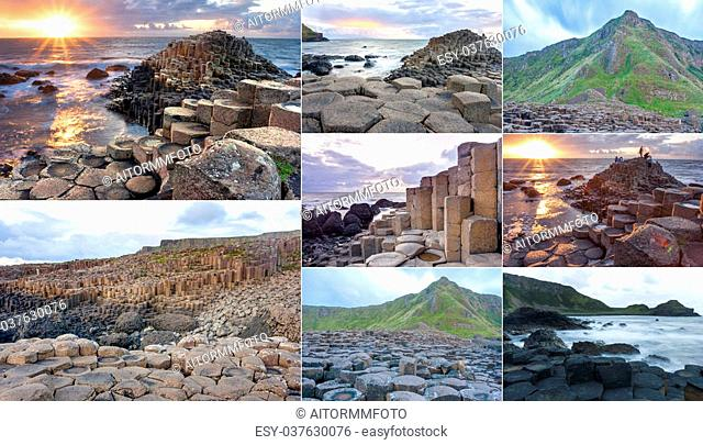 Collage of different pictures of Giants causeway in Northern Ireland