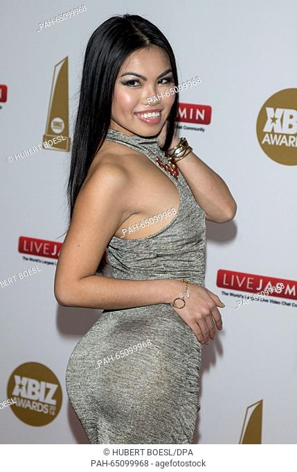 Adult film actress Cindy Starfall arrives at the 2016 Xbiz awards at Hotel J.W. Marriot LA Live in Los Angeles, USA, on 15 January 2016