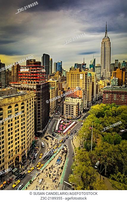A view from the top to the Flatiron District along with Fifth Avenue, Broadway , Madison Square Park as well as the the Empire State Building during a Spring...