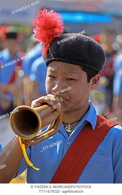 Bugle players Trumpet musician of school music band, Namdapha Eco Cultural Festival, Miao, Arunachal Pradesh, India