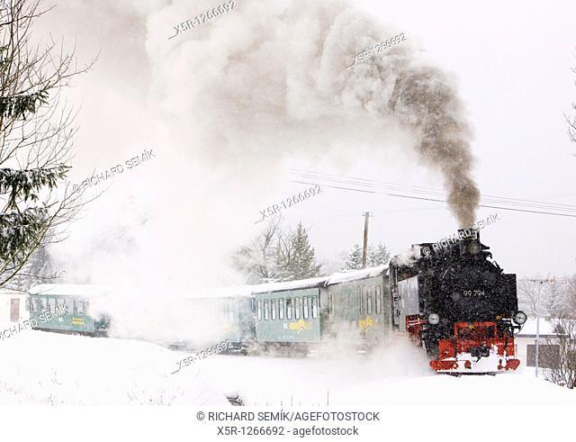 steam train, Oberwiesenthal - Cranzhal Fichtelbergbahn, Germany