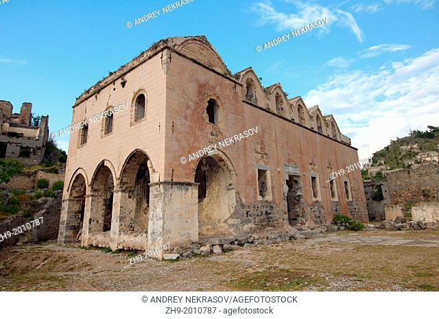 Orthodox temple, Greek ghost town of Levissi, Karmylassos, Kayakoey, Turkey