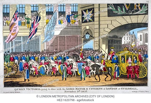 Royal procession passing Temple Bar, London, 1837. Scene showing Queen Victoria's carriage passing under Temple Bar on her way to dine with the Lord Mayor and...