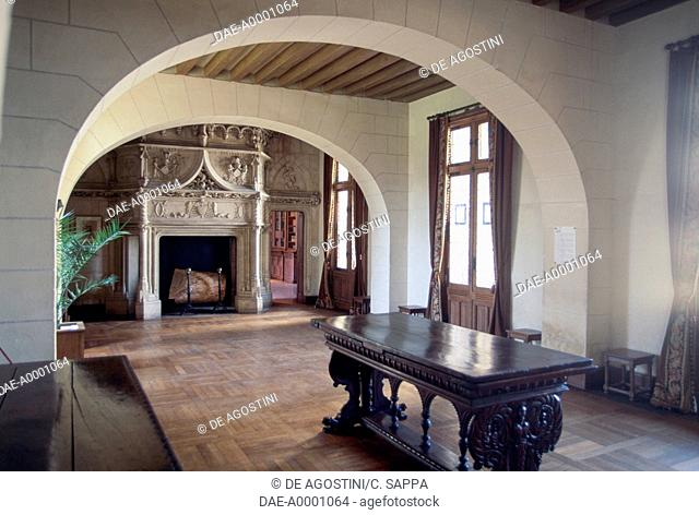 Dining room with fireplace, Chaumont-sur-Loire castle, Loire valley (UNESCO World Heritage List, 2000), Centre region, France, 15th-16th century