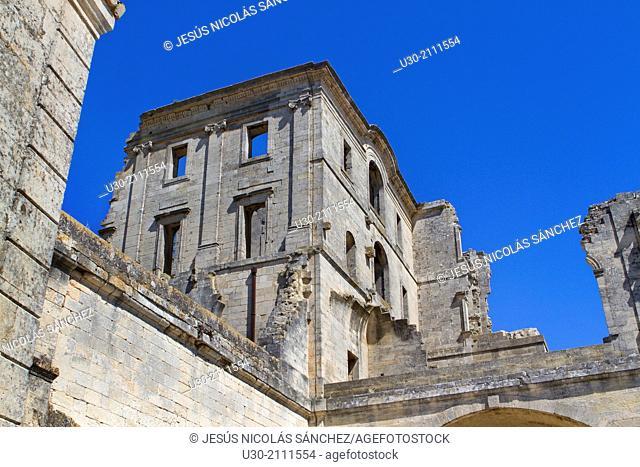 Montmajour Abbey, near Arles. Arles district, Bouches-du-Rhône department, Provence-Alpes-Côte d'Azur region, France, Europe