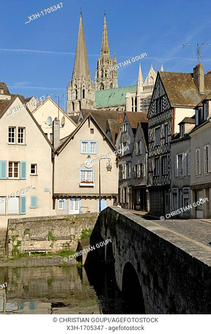 Bouju bridge and Bourg street with the Cathedral of Chartres background, Eure-et-Loir department, Centre region, France, Europe