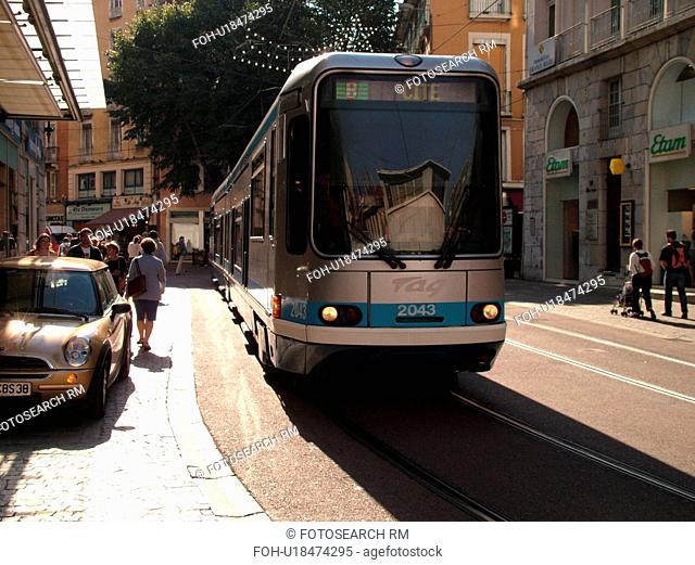 France, Grenoble, Isere, Rhone-Alpes, Europe, downtown, tram, trolley