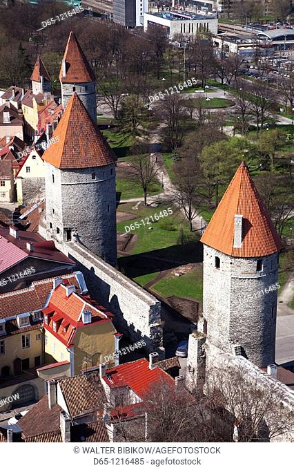 Estonia, Tallinn, Old Town, elevated view of City Walls from St  Olaf's Church Tower